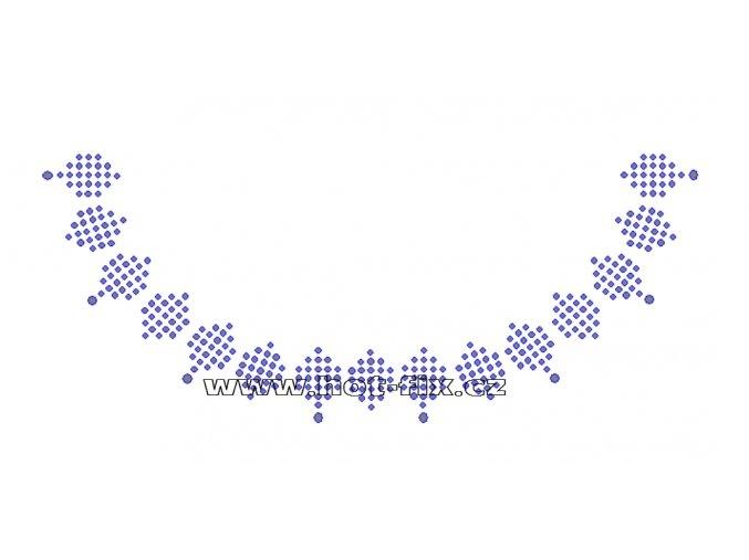 OV007 -  výstřih nažehlovací hot-fix kamínková aplikace na textil, rozměry cca 20,0x8,2cm