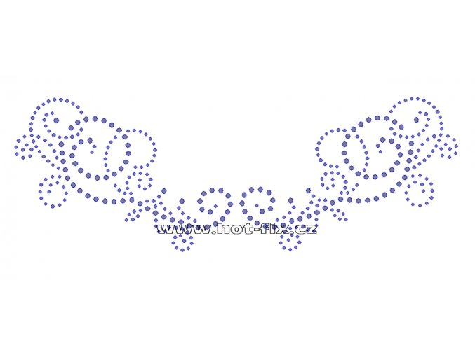OV013 - výstřih nažehlovací hot-fix kamínková aplikace na textil, rozměry cca 25,6x9,0cm