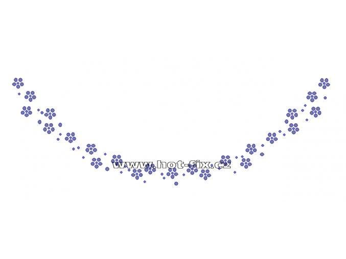 OV014-A  - výstřih nažehlovací hot-fix kamínková aplikace na textil, rozměry cca 24,8x8,4cm