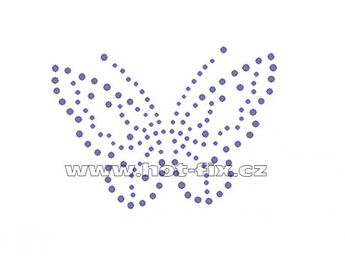 ZM002 - motýl nažehlovací hot-fix kamínkový potisk na textil, rozměry cca 10,2x7,4cm