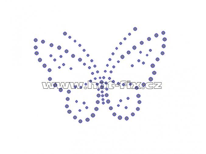 ZM003 - motýl nažehlovací hot-fix kamínkový potisk na textil, rozměry cca 10,2x7,4cm