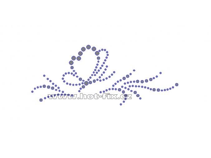 ZM013-P - nažehlovací potisk z hot-fix kamenů motýl, rozm. cca 13,8x5,7cm