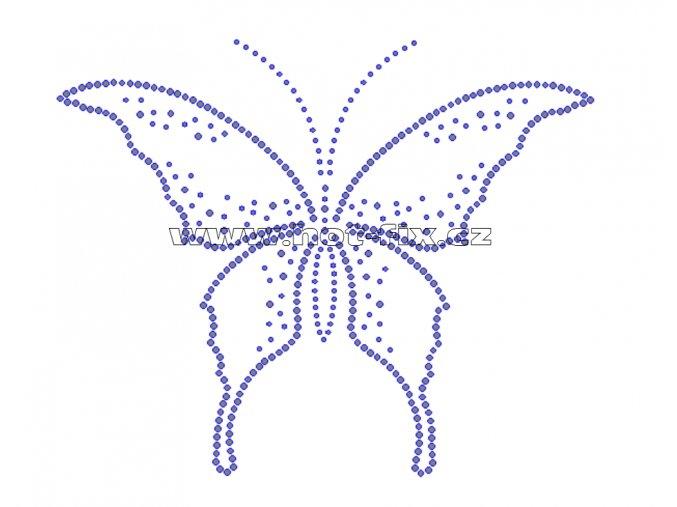 ZM016 - nažehlovací potisk z hot-fix kamenů velký motýl, rozm. cca 30,5x24,8cm