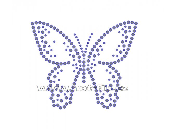 ZM034 - motýl nažehlovací hot-fix kamínkový potisk na textil, rozměry cca 10,0x8,3cm