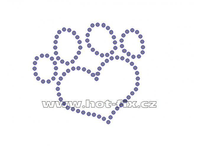 ZP014 - nažehlovací potisk z hot-fix kamenů psí stopa love, rozm. cca 8,3x7,5cm