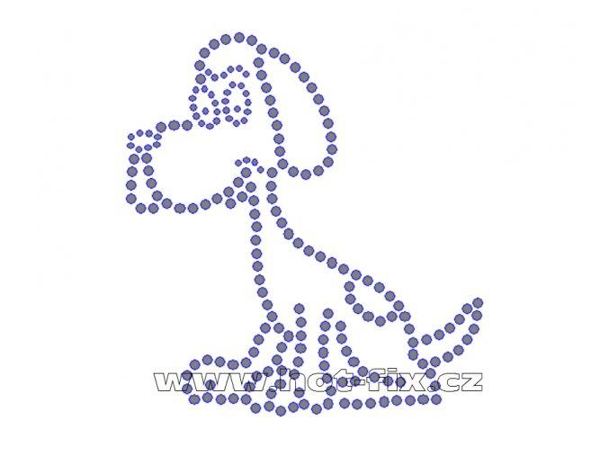 ZP015 - nažehlovací potisk z hot-fix kamenů pes, rozm. cca 10,0x10,8cm