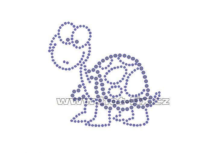 ZV001 - nažehlovací potisk z hot-fix kamenů želva, rozm. cca 9,2x8,6cm