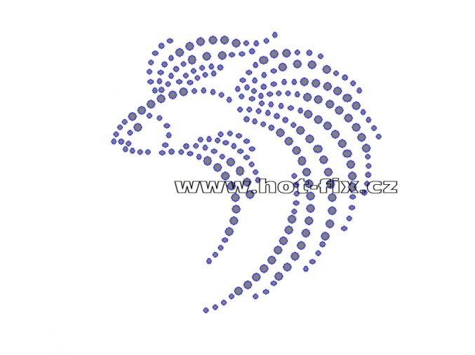 ZR001 - nažehlovací potisk z hot-fix kamenů ryba, rozm. cca 9,5x9,9cm