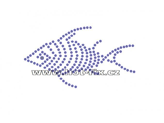 ZR007 - nažehlovací potisk z hot-fix kamenů ryba, rozm. cca 9,2x5,1cm