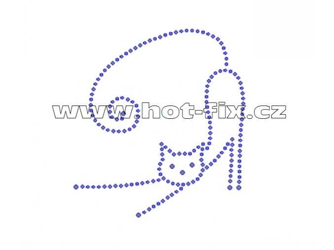 ZA020 - kočka nažehlovací hot-fix kamínková aplikace na textil, rozměry cca 8,9x9,8cm
