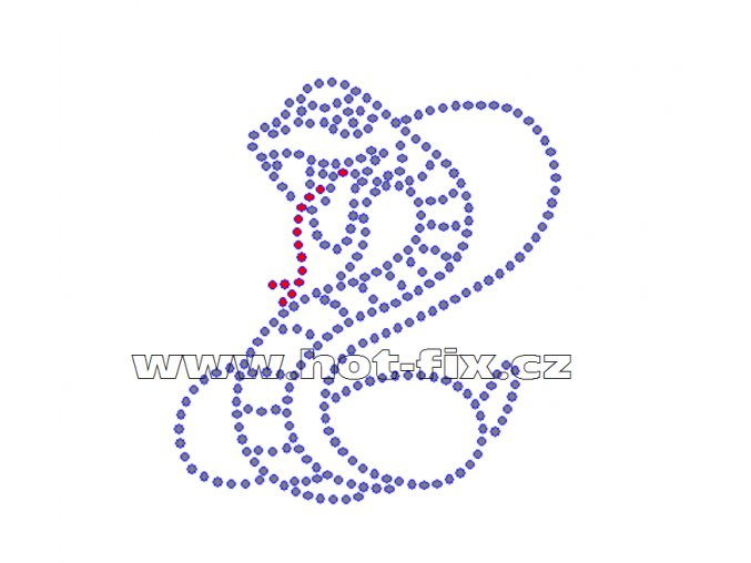 ZH003 - kobra nažehlovací potisk z hot-fix kamenů, rozměry cca 8,2x9,0cm