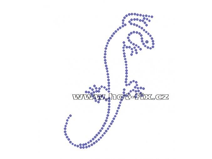 ZH005 - nažehlovací potisk z hot-fix kamenů ještěrka, rozm. cca 12,0x18,0cm