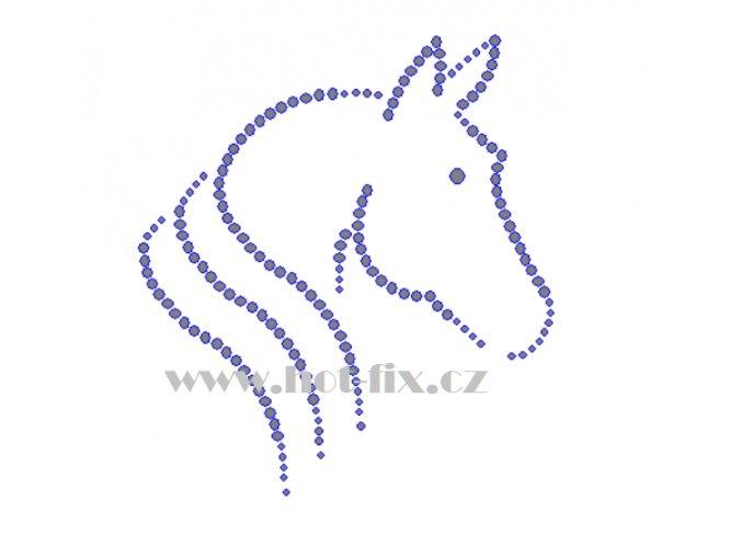 ZK002 verze B hlava koně nažehlovací potisk na tričko, textil hot fix kameny
