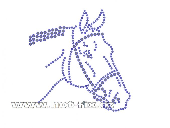 ZK023 - kůň nažehlovací potisk z hot-fix kamenů, rozměry cca 10,0x10,0cm