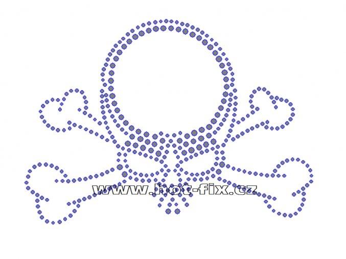 SL007 - lebka nažehlovací potisk z hot-fix kamenů, rozměry cca 14,9x10,6cm
