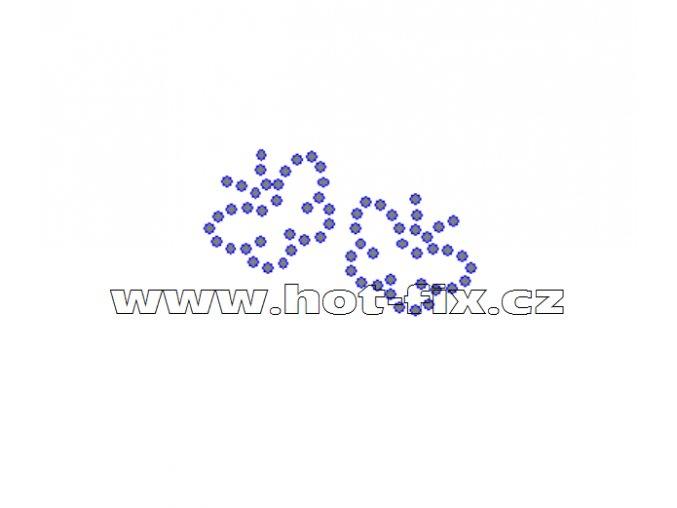 ZM004 - motýlci nažehlovací hot-fix kamínková aplikace na textil, rozměry cca 4,7x2,9cm