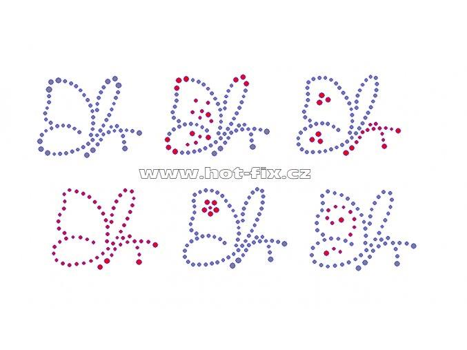 ZM005-B-sada 6ks - motýli nažehlovací hot-fix kamínková aplikace na textil, rozměry motýla cca 5,7x4,4cm
