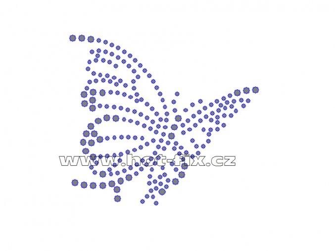ZM012-P - nažehlovací potisk z hot-fix kamenů motýl, rozměry cca 8,5x7,6cm