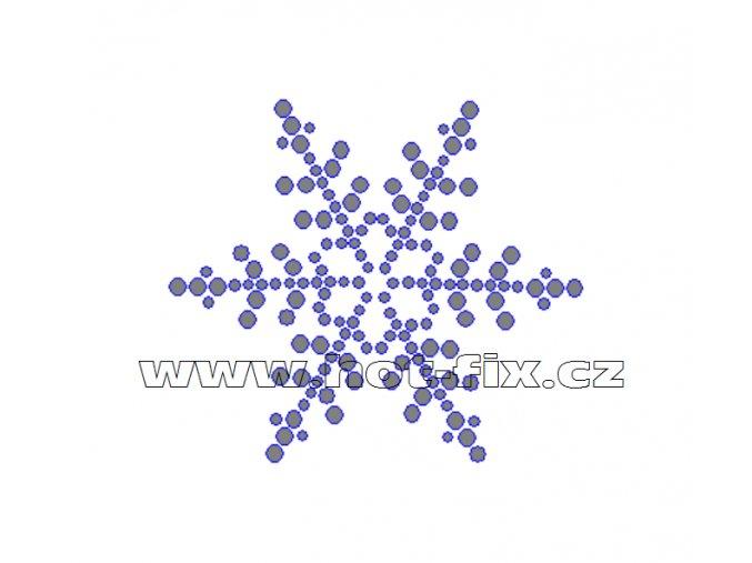 SV002 - sněhová vločka nažehlovací hot-fix kamínkový potisk na textil, rozměry cca 6,9x6,0cm
