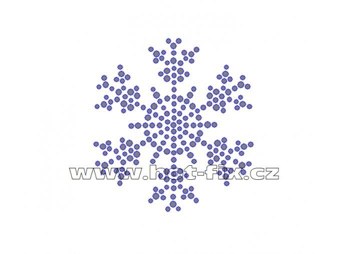 SV005 - vločka nažehlovací hot-fix kamínkový potisk na textil, rozměry cca 6,1x6,7cm
