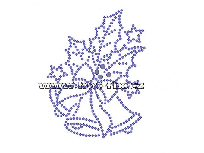 SV012-A - zvonky vánoční nažehlovací hot-fix kamínkový potisk na textil, rozměry cca 8,0x10,4cm