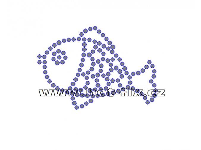 SV021 - kapr nažehlovací hot-fix kamínkový potisk na textil, rozměry cca 8,0x5,7cm