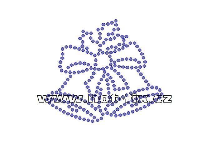 SV024-A - vánoční zvonky nažehlovací hot-fix kamínkový potisk na textil, rozměry cca 6,9x6,0cm