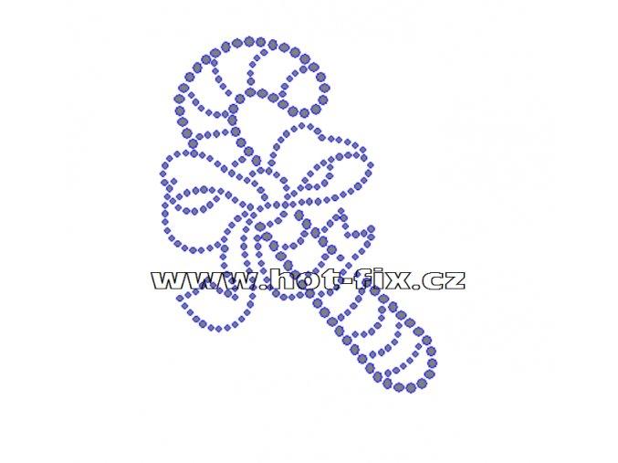 SV025-A - vánoční motiv nažehlovací hot-fix kamínková aplikace na textil, rozměry cca 8,2x10,5cm