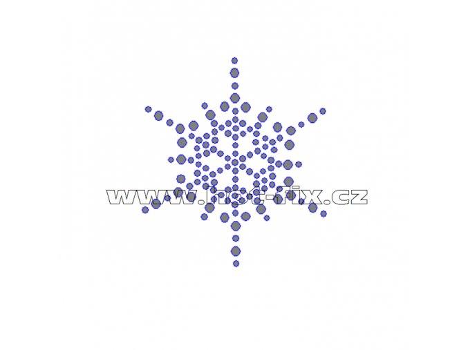 SV029 - sněhová vločka nažehlovací hot-fix kamínkový potisk na textil, rozměry cca 5,7x6,5cm