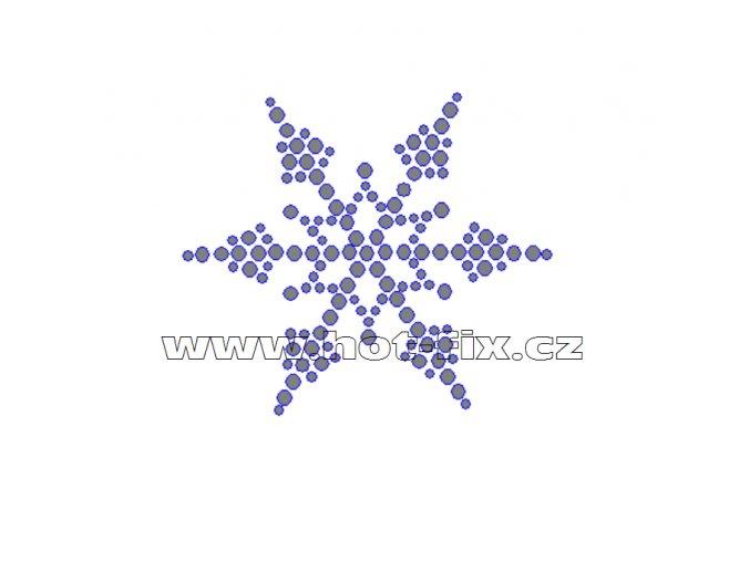 SV018 - zažehlovací kamínkový potisk na textil sněhová vločka, rozměry cca 7,0x6,2cm