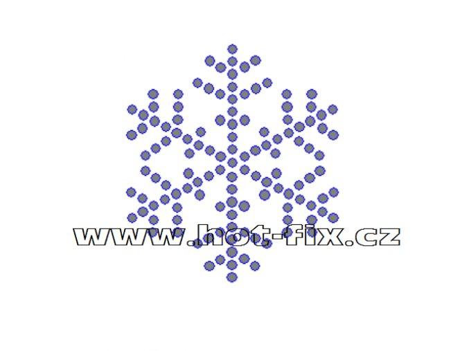 SV031 - sněhová vločka nažehlovací hot-fix kamínkový potisk na textil, rozměry cca 6,2x6,9cm