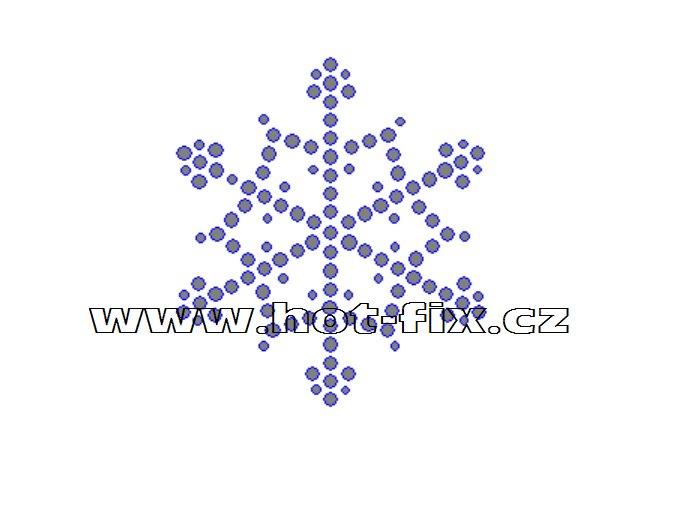 SV036 - sněhová vločka nažehlovací hot-fix kamínková aplikace na textil, rozměry cca 6,1x6,9cm
