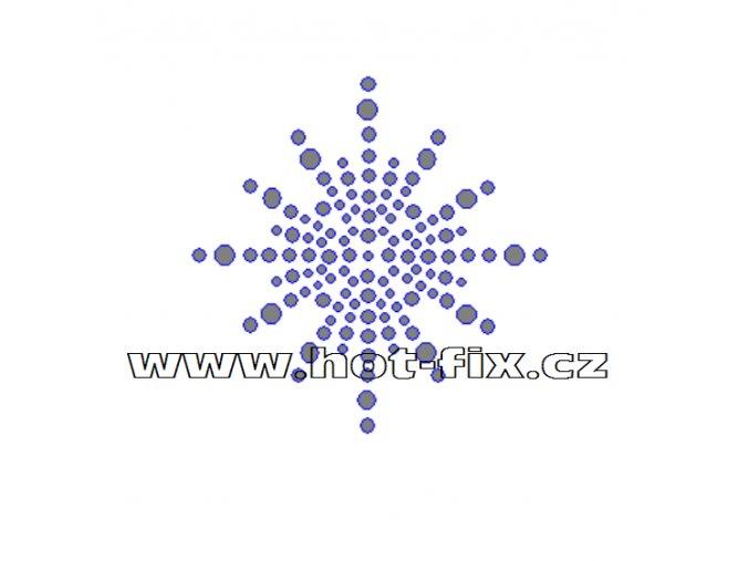 SV037 - vločka nažehlovací hot-fix kamínkový potisk na textil, rozměry cca 7,0x7,0cm