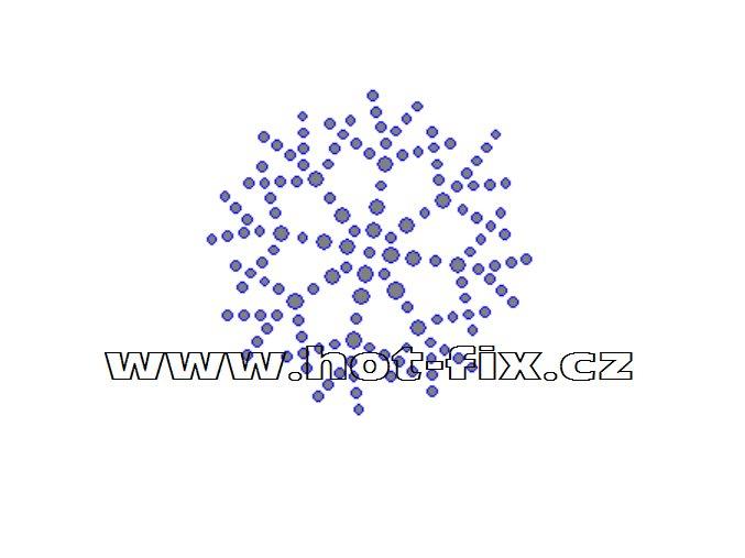 SV045 - vločka nažehlovací hot-fix kamínkový potisk na textil, rozměry cca 5,8x5,8cm