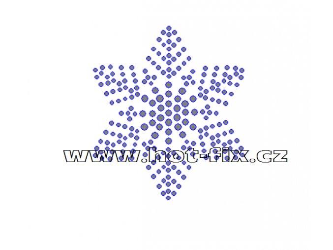 SV034 - vločka nažehlovací hot-fix kamínkový potisk na textil, rozměry cca 6,4x7,4cm