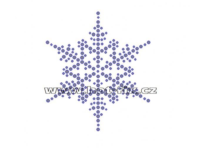 SV041 - sněhová vločka nažehlovací hot-fix kamínkový potisk na textil, rozměry cca 8,8x10,0cm