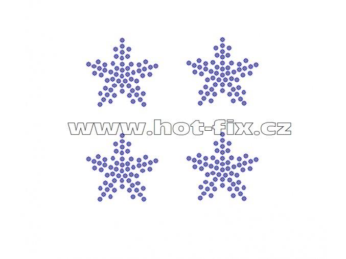 SV052-sada 4ks - nažehlovací kamínkový potisk vánoční vločky, celkové rozměry cca 7,3x7,0cm