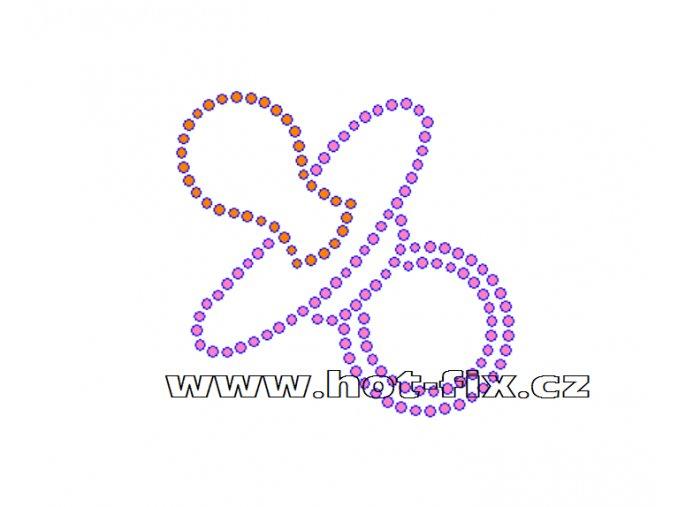 ND003 - dudlík nažehlovací potisk na textil k narození dítěte, rozměry cca 8,2x7,9cm