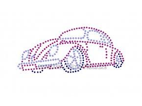 M003-A - auto brouk nažehlovací potisk na textil z hot-fix kamenů, rozměry cca 13,3x5,8cm