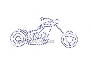 M020 - motocykl chopper nažehlovací hot-fix kamínková aplikace na textil, rozměry cca 21,5x14,9cm