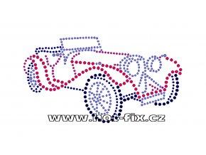M023 - auto veterán nažehlovací hot-fix kamínková aplikace na textil, rozměry cca 15,2x8,3cm