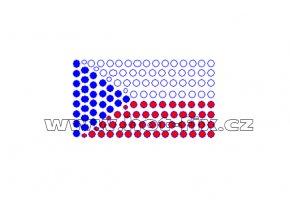 SX001 - státní vlajka ČR nažehlovací hot-fix kamínkový potisk na textil, rozměry cca 5,7x3,2cm