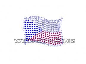 SX003 - státní vlajka ČR nažehlovací kamínkový potisk na textil, rozměry cca 5,7x4,3cm