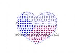 SX005 - srdce ČR nažehlovací kamínkový potisk na textil, rozměry cca 7,3x5,8cm