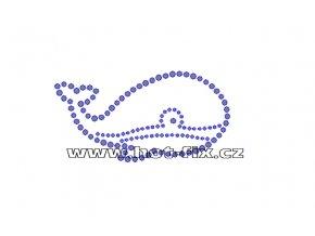 SM009 - nažehlovací hot-fix kamínková aplikace velryba, rozměry cca 9,0x4,7cm