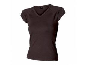 FT114V tričko dámské, výstřih V, 100% bavlna, gramáž 210g/m2, barva černá