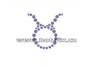 SZ002-02 - hot-fix kamínkový potisk znamení zvěrokruhu Býk (21. 4.-21. 5.), rozměry cca 4,5x4,5cm