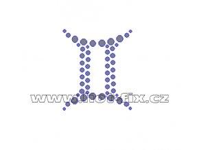 SZ002-03 - hot-fix kamínkový potisk znamení zvěrokruhu Blíženci (22. 5.-21. 6.), rozměry cca 4,2x4,9cm