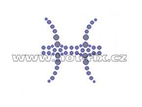 SZ002-12 - hot-fix kamínkový potisk znamení zvěrokruhu Ryby (21. 2.-20. 3.), rozměry cca 4,3x4,7cm
