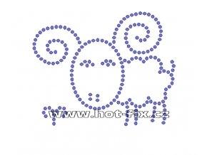 SZ003-01 - znamení zvěrokruhu Beran (21. 3.-20. 4.) hot-fix kamínkový potisk na textil, rozměry cca 12,2x9,8cm